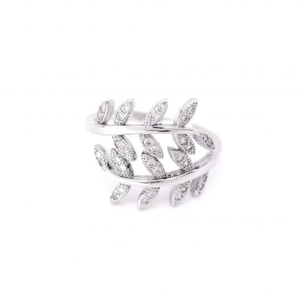 Intricate silver CZ with rhodium