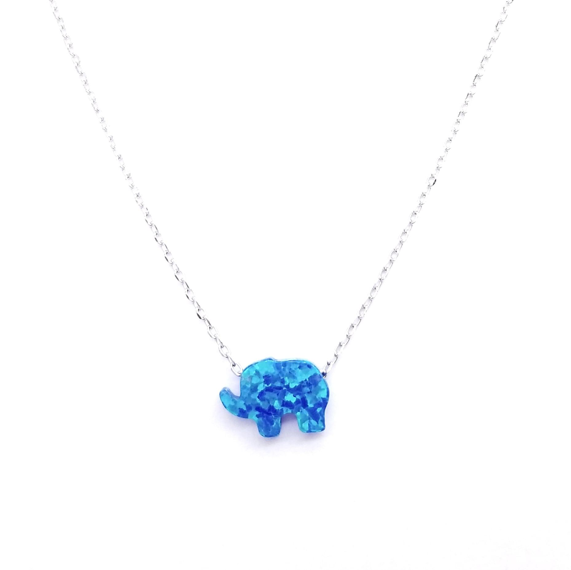 Opal Elephant Necklace