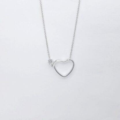 Heart flower silver necklace