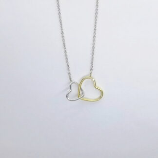 Silver Heart & Gold Heart Necklace