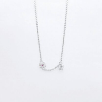 Silver Flower Butterfly Necklace
