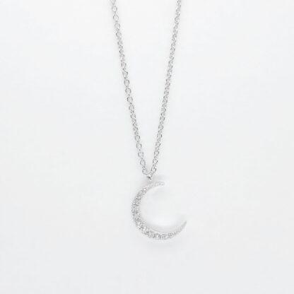 Silver Moon Diamond Necklace