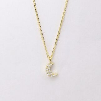Gold Moon Diamond Necklace