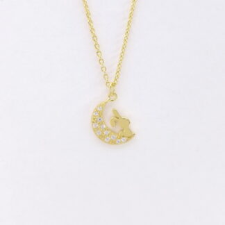 Gold Bunny Moon Necklace