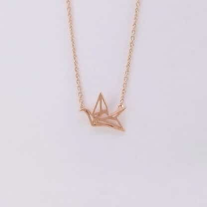 Pink Gold Origami Necklace
