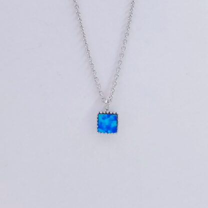 Silver Turquoise Square Necklace