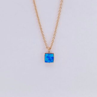 Pink Gold Turquoise Square Necklace