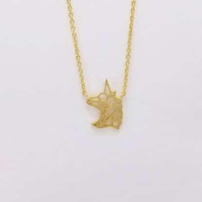 Gold Unicorn Head Necklace