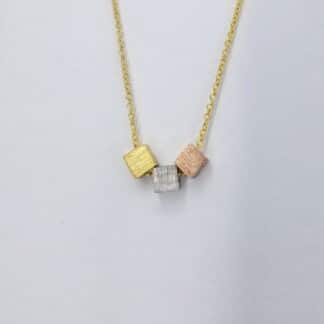 Silver Gold squares Necklace