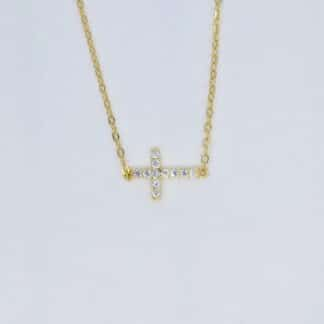 Gold Horizontal cross Necklace