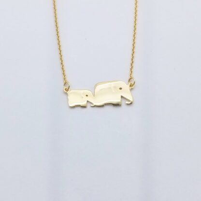 Gold Mother and baby elephant Necklace