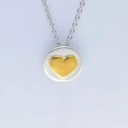 Silver Gold Heart Necklace