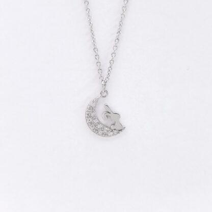 Silver Bunny moon Necklace